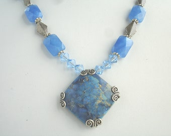 Necklace with filagree wrapped blue stone pendant and blue chalcedony beads, blue necklace, natural stone pendant