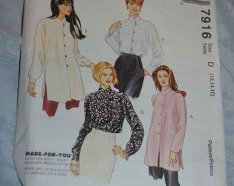 McCalls 7916 Misses Blouse in Two Lengths Sewing Pattern - UNCUT - Size 12 14 16