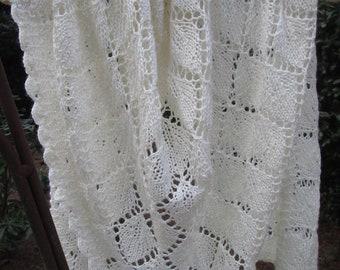 Shimmering Ivory Silk Merino Lace Shawl