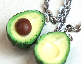 avocado friendship necklace- miniature food jewelry, food necklace, bff necklace