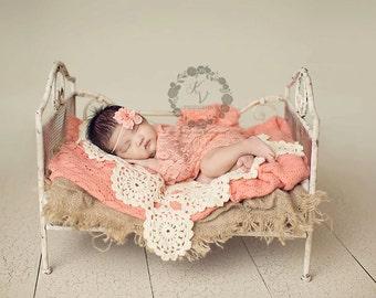 Peach Papaya Stretch Lace Wrap Newborn Photography Prop Baby Swaddle