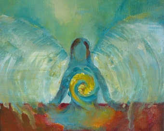 "Original Angel Painting on Canvas ""Transformation"" 8 x 8 inch Blue Woman Angel Yoga Chakra Avrylic"