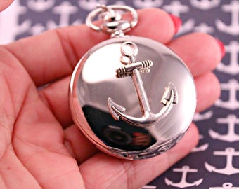 Silver Anchor Quartz Pocket Watch with 30 Inch Silver Chain