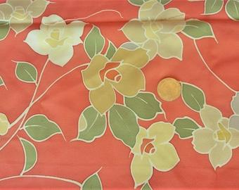"Vintage Japanese silk crepe kimono fabric 92 cm x 36 cm  orange flowers roketsuzome 36"" x 14"""