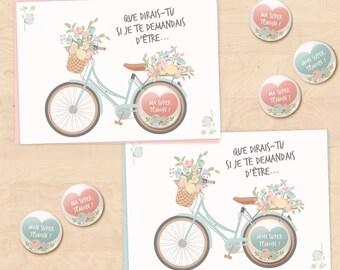 Set of 2 cards-badges gifts best man, super light - floral bike Collection request