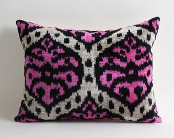 Pink Ikat Pillowcase 12x16 Pink Black Cream Modern Soft Decorative Velvet Ikat Pillow For Couch Pink Throw Pillows Neon Pink Sofa Pillows