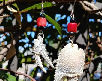 White crab claw coral and jet earrings -found art - shell jewelry -mermaidwear