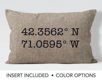 Latitude Longitude GPS Coordinates Pillow, new home gift, moving away gift, going away gift, hostess gift, housewarming gift, custom pillow,