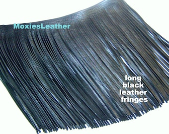 "Long Black leather fringes - genuine leather fringes 13"" long"