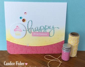 Handmade bright cupcake birthday card
