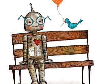 Bot and Bird Print