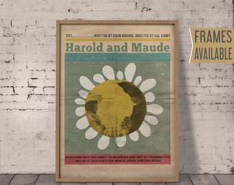 HAROLD AND MAUDE Poster *Frames Available* Classic Old Movies Film Prints Alternative Film Poster  Retro Wall Art Print  Gift For Him / Her