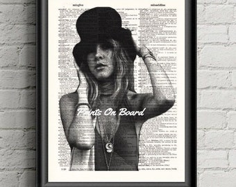 Stevie Nicks Poster-  Bohemian Decor-dictionary page Music Celebrity Art Print, Fleetwood Mac Fan Gift Antique Book Page Gypsy Decor