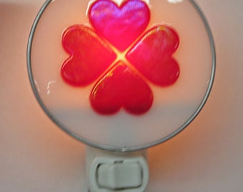 Hearts Night Light - Fused Glass 4 Heart Nightlight - Red Iridescent Hearts Night Light
