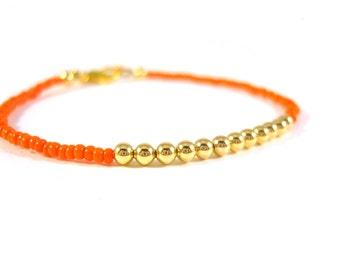 Friendship Bracelet, Orange Bracelet, Simple Seed Bead Bracelet, Layering Bracelet UK