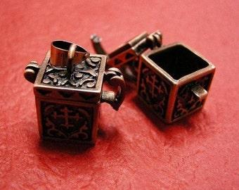 2pc antique copper finish wish box pendant-3210