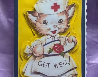 retro themed get well card in 3d