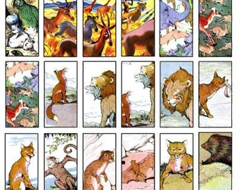 Vintage wild animals contact sheet collage collection from old nursery rhyme book
