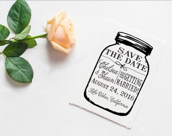 Clear Block Mason jar Save the Date Custom rubber stamp great for DIY Save the dates --13028-CB34-000