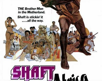 Shaft in Africa (1973) movie poster 11 x 17 Richard Roundtree blaxploitation final sequel Vonetta McGee Frank Finlay human trafficking ring