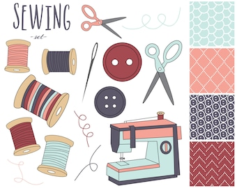 60% OFF SALE  Sewing Digital Clipart Sewing Machine Clip Art Craft Clipart Digital Papers Needle Thread Buttons