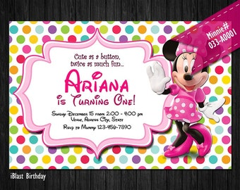 ASSORTED Minnie Invite for Minnie Mouse Birthday or Baby Shower - DIY Printable multi pattern background