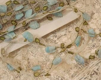 RARE Antique Vintage French 1900's Antique Blue SILK Hand Made Ribbon ROSETTES Flowers Trim