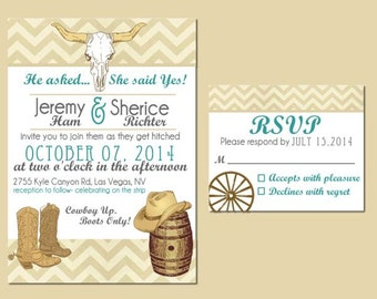 Western Wedding Invite and RSVP Card