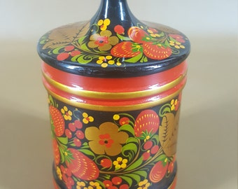 Russian Khokhloma lacquer lidded container with strawberries plus spoon