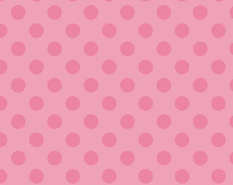 Dots Medium Hot Pink on Pink by RBD Designers for Riley Blake, 1/2 yard
