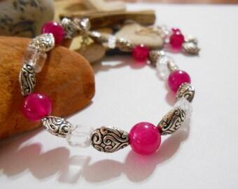 Hot Pink Agate Bracelet & Earrings Gemstone Jewelry Set Birthday Gift Girlfriend Gift Valentines Day Fuchsia Bridal Jewelry Bridesmaid Gift