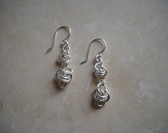 Sterlng silver double fancy link earring