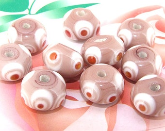 5beads/lot Charm Candy Pink Rondelle Lampwork gemstone beads 8mmx13mm
