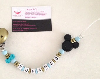 Personalized pacifier Golden blue mickey with his bow tie