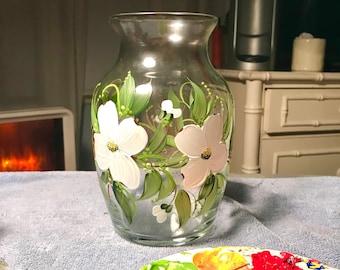 Free shipping Dogwood vase hand painted