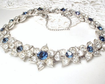 Designer BOGOFF Sapphire Bracelet, Art Deco Navy Blue Pave Rhinestone Bridal Bracelet Wide Link Vintage 1920's Wedding Something Blue Old