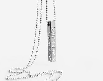 Personalized 3D Bar Necklace for Men, Father's Day Gift for Him, 4 Sided Vertical Bar Necklace, Name Bar Necklace, Engraved Men's Necklace