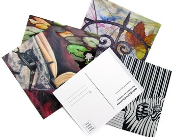 Art Postcards - Affordable Wall Art Collage - Invitation - By Mixed Media Artist Malinda Prudhomme