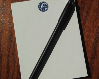 Monogrammed Notepad with Circle Monogram, Luxurious Cotton Personalized Memo Pad, Custom Note pad, Personalized notepad monogrammed note pad
