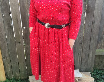 Vintage Red Southerstern Style Dress with Pockets