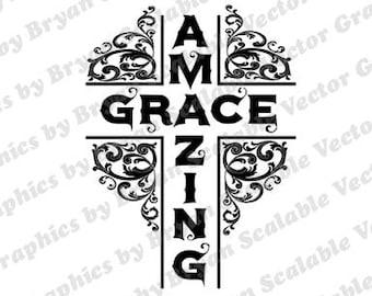 Amazing Grace  dxf,png,SVG,EPS,Silhouette Files,Scan n Cut files,Cricut Files,Digital cut file,SVG Cut File,Vinyl Cutter,Vector Art