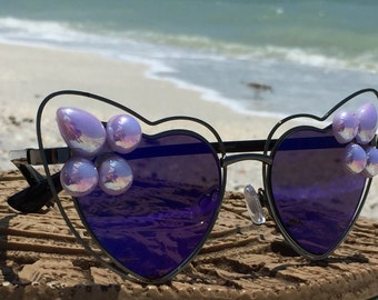 FESTiVAL Lavender Blue Heart Sunglasses Women, EDC, EDM, Rave, Hippie, Gypsy, Hippy, Boho, Retro, Sunglasses, Eyewear, Eyeglasses, Sunnies