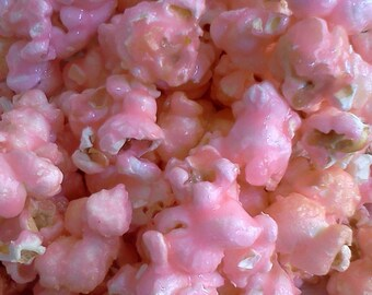 Pink Candy Coated Popcorn, Fruit Flavored Popcorn, Pink Popcorn, Pink Candy Table