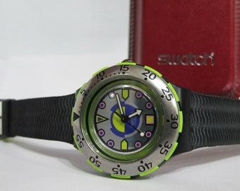 Vintage swatch watch scuba, 90's collectors watch, 1993 mens watch, womens watches retro black silver BOMBOLA