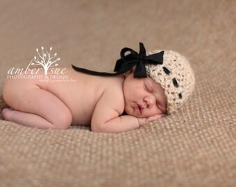 Crochet Baby Hat Girl Ribbon Handmade Photo Prop Bow Newborn Infant toddler Child Neutral Beige
