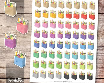 Grocery Printable Planner Stickers, Groceries Planner Stickers, Erin Condren Planner Stickers, Shopping Planner Stickers