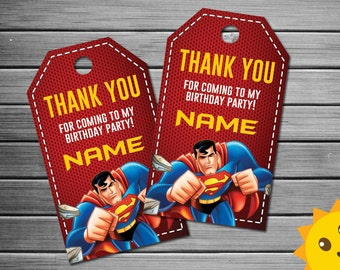 Superman Thank You Tags, Superman Birthday Favor Tags, Superman Party Tags, Superman Favor Tag, Superman Thank You Printables, Game Labels