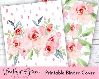 Binder Cover | Printable Binder Cover SET | Pink Roses | Binder Cover | U.S. Letter Binder | Instant Download | Printables