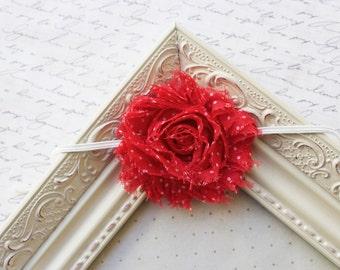 LIMITED EDITION- Red and white Polka Dot chiffon flower headband, baby flower headbands, newborn headbands, christmas headbands