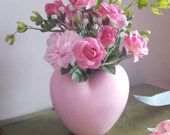 Faux flowers in vase etsy valentines flowers pink flowers in vase pink vase faux flowers heart vase pink flower arrangement home decor artificial flowers mightylinksfo